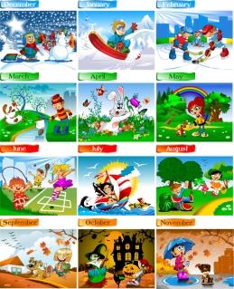 新年の子供カレンダー テンプレート 2013 calendars for kids cartoon characters and animals イラスト素材1