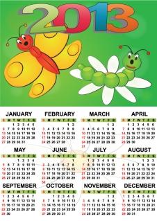 新年のカレンダー テンプレート セット Set of 6 vector 2013 calendar templates イラスト素材3