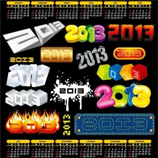 新年の数字のロゴで描いたラベル 2013 New Year labels and logos イラスト素材2