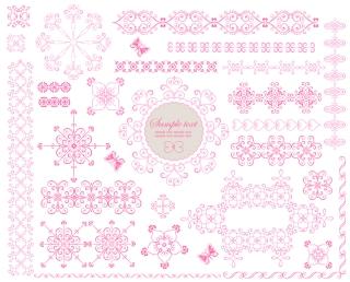 花柄の古風なヴィンテージ フレームとボーダー vintage frames and decorative borders with floral classic ornaments イラスト素材3