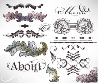 クラシック スタイルな植物柄の装飾 floral embellishment ornaments in vintage classic style イラスト素材4