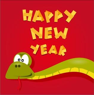新年を祝う干支の蛇の背景 Cartoon 2013 snake New Year cards イラスト素材3