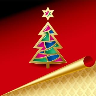 金色に捲れたクリスマス・カード roll angle of the christmas card vector イラスト素材2