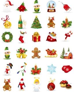 クリスマス素材のイラスト Christmas Elements Vector Collection イラスト素材