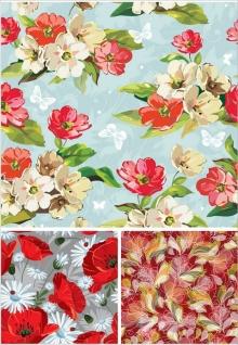 手書きのシームレスな花柄パターン seamless patterns with flowers in hand drawn paint style イラスト素材