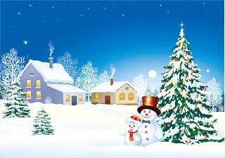 雪だるまとクリスマス・ツリーの背景 vector christmas snow イラスト素材2