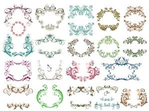 花柄の古風なヴィンテージ フレームとボーダー vintage frames and decorative borders with floral classic ornaments イラスト素材