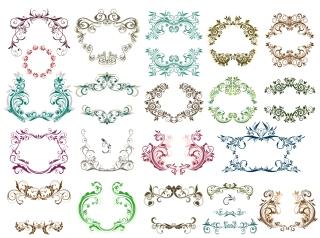 花柄の古風なヴィンテージ フレームとボーダー vintage frames and decorative borders with floral classic ornaments イラスト素材1