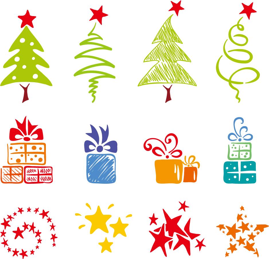 愛らしい手書きのクリスマス素材 Lovely Christmas Element Vector
