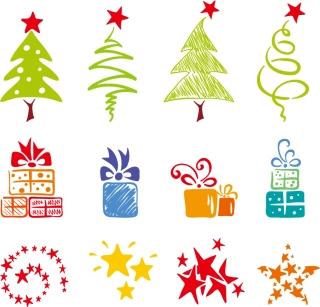愛らしい手書きのクリスマス素材 lovely christmas element vector イラスト素材