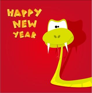 新年を祝う干支の蛇の背景 Cartoon 2013 snake New Year cards イラスト素材5