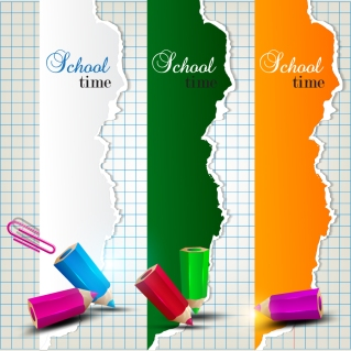 学校に関する吹き出し・フレーム・バナー School design elements vector イラスト素材6