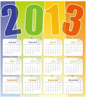 新年のカレンダー テンプレート セット Set of 6 vector 2013 calendar templates イラスト素材6