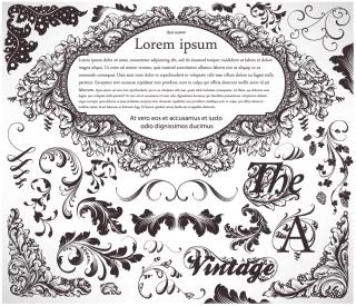 クラシック スタイルな植物柄の装飾 floral embellishment ornaments in vintage classic style イラスト素材2