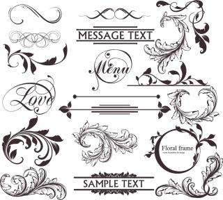古風な巻いた植物の装飾素材 decor elements in classic decorative style with flourish curls イラスト素材