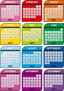 鮮やかな色の新年のカレンダー テンプレート modern design 2013 calendar templates in vivid contemporary style イラスト素材1