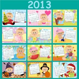 新年の子供カレンダー テンプレート 2013 calendars for kids cartoon characters and animals イラスト素材3