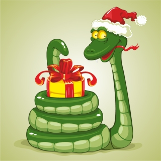 干支の蛇を描いた漫画風イラスト 2013 New Year snake backgrounds and illustrations in cartoonish style イラスト素材3