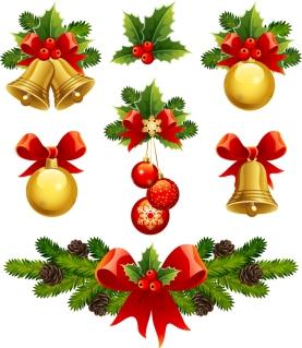 光沢あるクリスマス素材・バナー high quality christmas element vector イラスト素材1