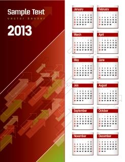新年のカレンダー テンプレート 2013 calendar templates vector イラスト素材5