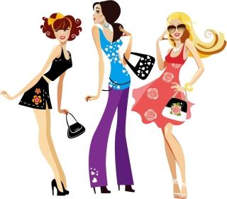 買い物を楽しむ女性 shopping girls in cartoon style イラスト素材4