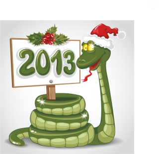 干支の蛇を描いた漫画風イラスト 2013 New Year snake backgrounds and illustrations in cartoonish style イラスト素材4