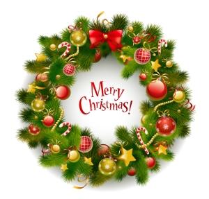 クリスマス・リースと家族 beautiful christmas wreath vector イラスト素材