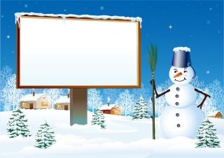 雪だるまとクリスマス・ツリーの背景 vector christmas snow イラスト素材5