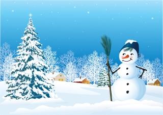 雪だるまとクリスマス・ツリーの背景 vector christmas snow イラスト素材1
