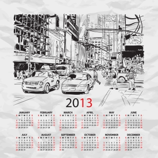 街のスケッチが背景のカレンダー テンプレート 2013 calendars with sketches of city イラスト素材5