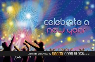 新年を祝う花火 Celebrate a New Year イラスト素材