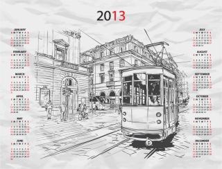 街のスケッチが背景のカレンダー テンプレート 2013 calendars with sketches of city イラスト素材1