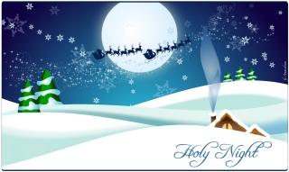 サンタクロースがソリを駆る聖夜の冬景色 winter landscape with Santa Claus イラスト素材