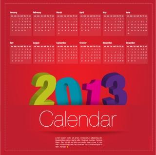 新年のモダンなカレンダー テンプレート New Year 2013 modern calendar designs イラスト素材4