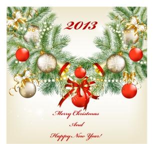 新年とクリスマスの背景 2013 New Year and Christmas cards vector イラスト素材4