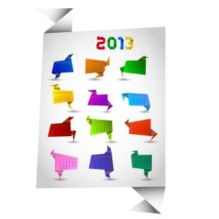 新年のカレンダー テンプレート セット Set of 6 vector 2013 calendar templates イラスト素材4