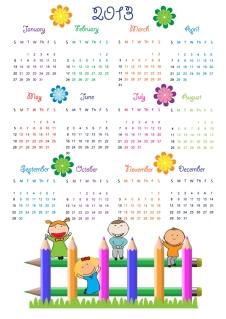 新年の子供カレンダー テンプレート 2013 calendars for kids cartoon characters and animals イラスト素材5