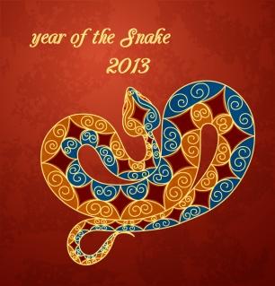 干支のへびで新年の数字を描いた背景 2013 year of snake backgrounds with stylized snake labels and logos イラスト素材3