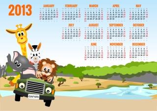 新年の子供カレンダー テンプレート 2013 calendars for kids cartoon characters and animals イラスト素材4
