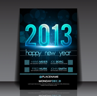 新年用フライヤー テンプレート 2013 New Year flyer templates イラスト素材1