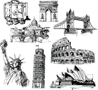 歴史的建造物の手書きスケッチ hand drawn landmark sketches イラスト素材