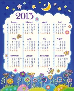 新年の子供カレンダー テンプレート 2013 calendars for kids cartoon characters and animals イラスト素材2