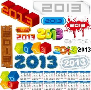 新年の数字のロゴで描いたラベル 2013 New Year labels and logos イラスト素材1