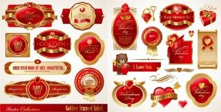 ロマンチックなバレンタインデーの赤いラベル romantic valentine day red label vector イラスト素材