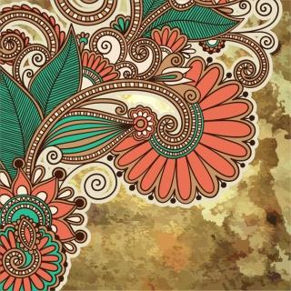 カラフルな植物柄を汚した背景 grunge floral ornament backgrounds with some colorful patterns イラスト素材1