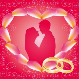 ハート型のウェディング フレーム heart-shaped vector wedding frames イラスト素材1