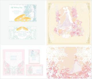 装飾的な結婚式の招待カード Ornate decorative wedding invitation cards イラスト素材