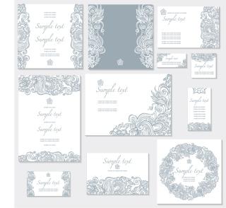 植物柄の結婚式の招待状テンプレート Floral ornate wedding invitation templates イラスト素材1