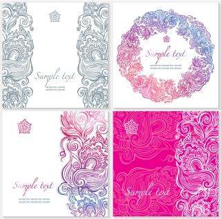 植物柄の結婚式の招待状テンプレート Floral ornate wedding invitation templates イラスト素材2