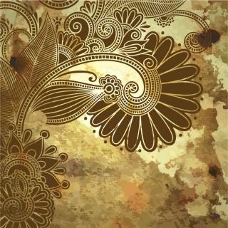 カラフルな植物柄を汚した背景 grunge floral ornament backgrounds with some colorful patterns イラスト素材3